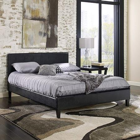 Zurich Queen Bed (Premier Zurich Queen Upholstered Platform Bed, Black Leather)