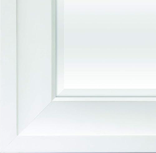 BP Industries Gesso Maxie Wood Mirror, Bright White