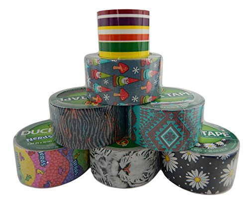 7 Roll Bundle of Assorted Variety Pack Rolls of Duck Brand Duct Crafting and Packing Tape Prints Patterns