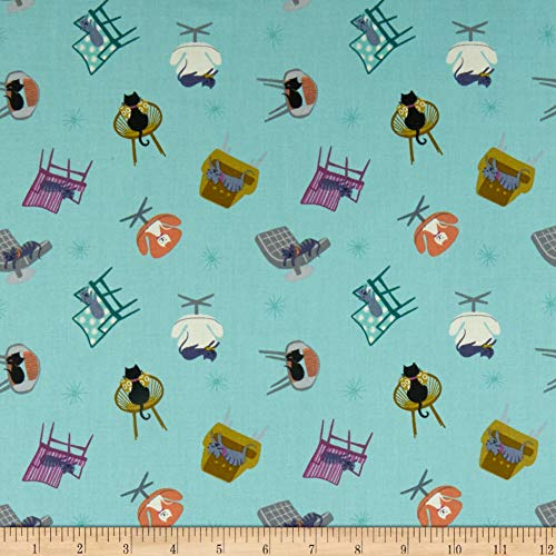 Lewis & Irene Poodle & Doodle Cat Naps Sky Blue Fabric by The Yard ()