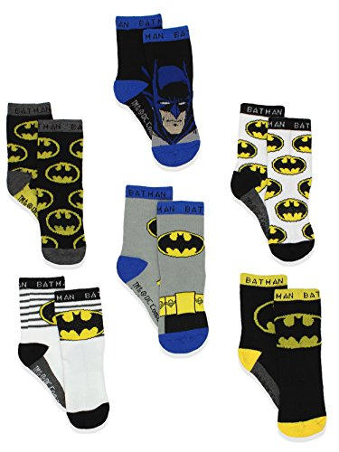 Batman Justice League Boy's 6 pack Athletic Crew Socks (4T-5T, Black/Multi)