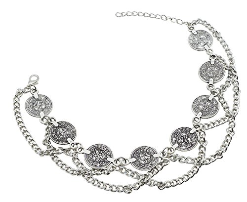 - Bienvenu 2 Pcs Silver Plated Coin Bracelet Bohemian Foot Jewelry Dance Bangle,Silver_Style 9