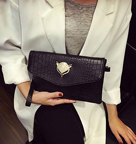 Diamond Fox Black Metallic Bag with Clutch Crocodile Women's qxwZAA