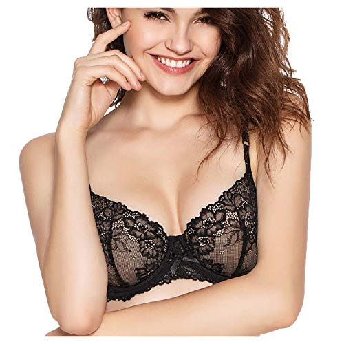 Eve's temptation Martina Unlined Floral Lace Demi Bra for Women Comfortable Support Underwire Lingerie Black 32B - European Style Cups Lace Bra