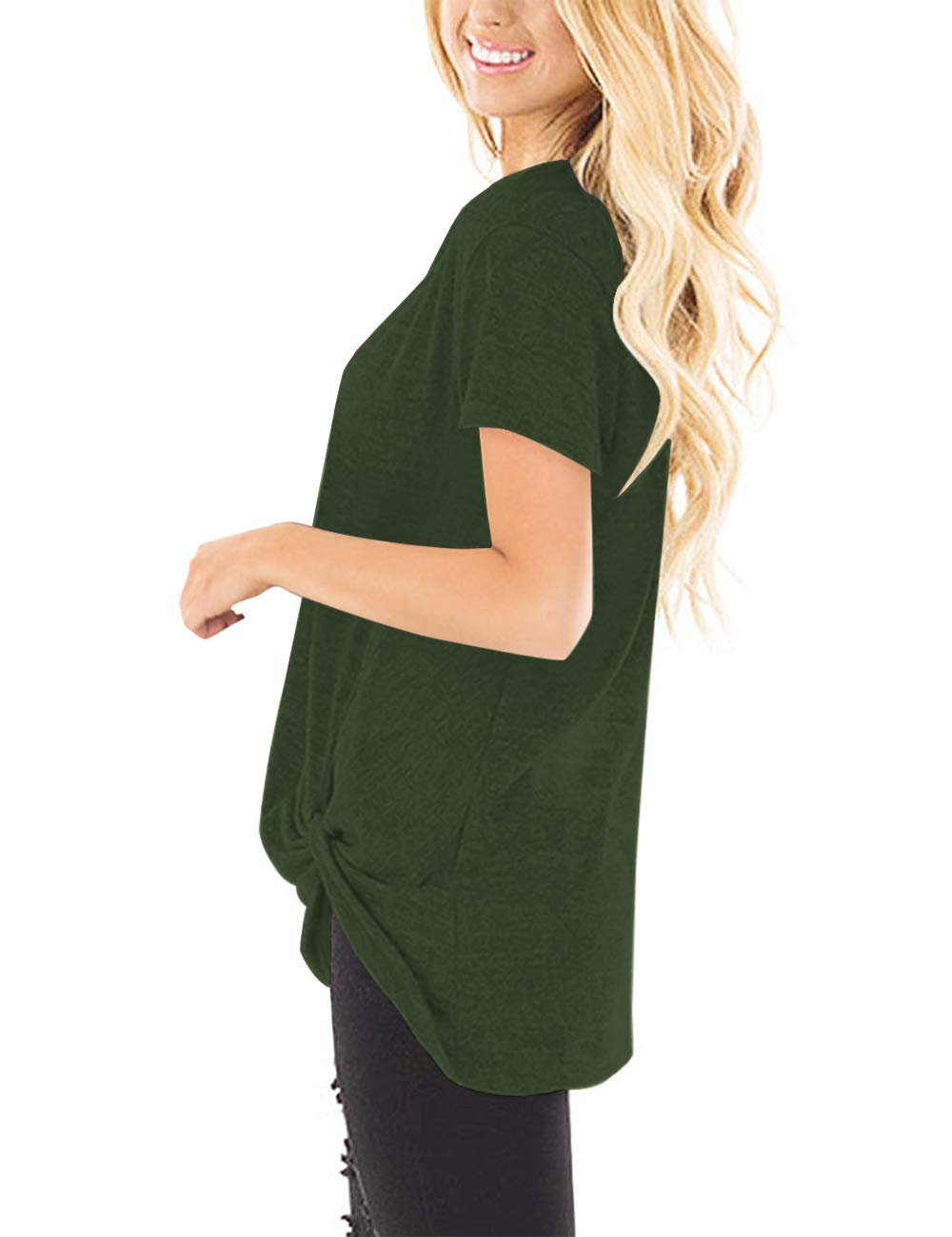 Women\'s Basic Short Sleeve Tops with Knot Front Shirts Blouses (XL, Green)