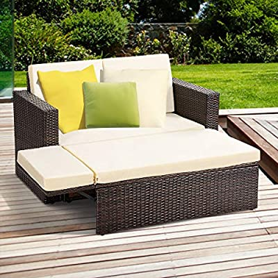 Tangkula 2 PCS Loveseat Outdoor Patio Wicker Rattan Love Seat Sofa Daybed Set Garden Furniture W/White Cushions