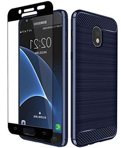 Galaxy J7 2018/J7 Aero/J7 Top/J7 Refine/J7 Eon/J7 Star/J7 Crown/J7 Aura Case with Aoways Tempered Glass Screen Protector, Texture Soft TPU Protective Cover - Blue