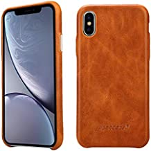 Jisoncase iPhone Xs MAX Case Leather Cover Slim Shell Snap-on Cases with Protective Metallic Side Buttons Compatible Apple 2018 New iPhone Xs MAX Brown JS-IXM-01A20