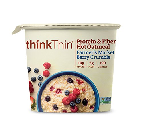 Oatmeal Cups by thinkThin, Instant Protein & Fiber Hot Oatmeal for On The Go- 10g Protein, 5g Fiber, Kosher - Farmer's Market Berry Crumble, 1.76 oz Cup (6 Cups)