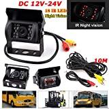 DC12V-24V Heavy Duty 18LEDs IR Night Vision Waterpoof Reversing Parking Rear View Camera for Bus Truck Trailers Caravan Campers, with 10M Video Cable