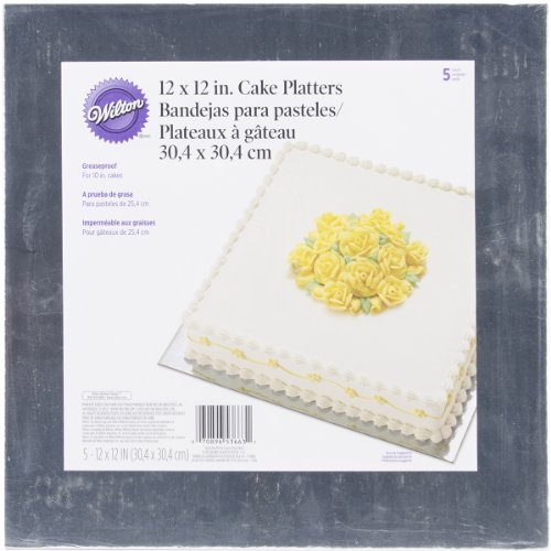 (Wilton Silver 12-Inch Square Cake Platters, 5 Count)