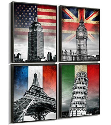 Sunfrower - Paris Canvas Wall Art Decor Flag Framed Black Eiffel Tower Print for Bathroom Tourist Attraction Buildings Pictures Modern painting Artwork Home Decoration Set of 4 Pieces 12