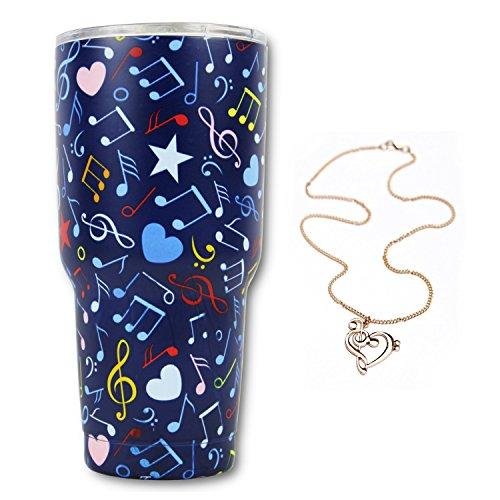 Music Note Gift Bundle, 30Oz Stainless Steel Tumbler & Music Note Necklace, KnitPopShop, Travel Vacuum Insulate Cup Men Women Mom Teacher Fan Lovers Mug