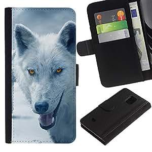 Billetera de Cuero Caso Titular de la tarjeta Carcasa Funda para Samsung Galaxy S5 Mini, SM-G800, NOT S5 REGULAR! / Wolf Arctic Winter Furry Canine Beast / STRONG