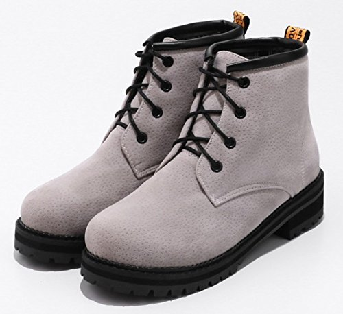 Up Round Medium Block Aisun Lace Heels Gray Toe Boots Daily Women's 7EgnwqBX