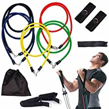 OFKP® 11pc Set of Resistance Exercise Bands, Ideal For Home Gym Fitness, Yoga, Pilates, Abs, P90x & Crossfit with Storage Bag
