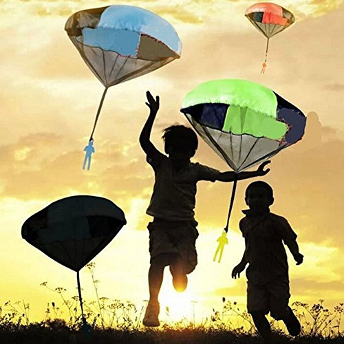Topseller Kids Children Tangle Free Hand Throwing Parachute Kite Outdoor Play Game Toy Random Color Christmas Birthday (Tangle Free Toy Parachute)