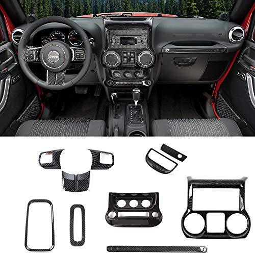 RT-TCZ Carbon Fiber Interior Decoration Trim Kit,Trim for Jeep Wrangler JK JKU 2011-2017 4 Door (10PCS)