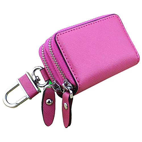 Witmoving Key Chain Holder Car Key Case Double Zipper Car Key Case Cross Grain Leather Key(Pink) ()