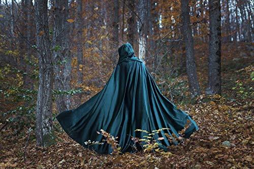 Velvet green cloak with hood, medieval elven fantasy costume ()