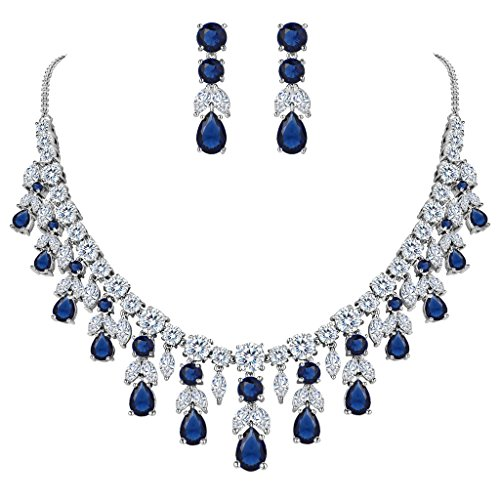 BriLove Women's Wedding Bridal Statement Necklace Dangle Earrings Jewelry Set with CZ Cluster Leaf Teardrop Sapphire Color Silver-Tone - Blue Bridal Jewelry