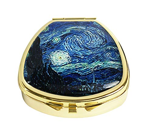 Youroom Custom Stainless Steel Gold Fan Shaped Glass Pill Case Medicine Vitamin Manager Decorative Box (Van Gogh Starry Night ()