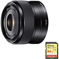 Sony 35mm f/1.8 Prime Fixed E-Mount Lens (SEL35F18) with Sandisk 64GB Extreme SD Memory UHS-I Card