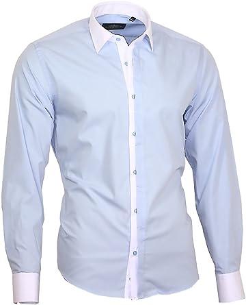 Louis Binder de Luxe Camisa para hombre con cuello y puños blancos, corte moderno, manga larga, 809