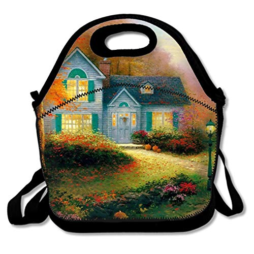 Dreamting Artistic Painting House Garden Lamp Post Neoprene Lunch Bag Insulated Lunch Box Tote Women Men Adult Kids Teens Boys Teenage Girls Toddlers,Shopping Bag (Black) from Dreamting