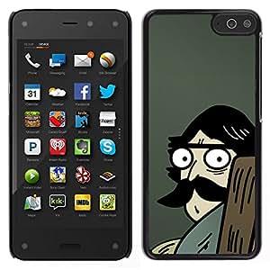 Caucho caso de Shell duro de la cubierta de accesorios de protección BY RAYDREAMMM - Amazon Fire Phone - El hombre del bigote grande Dibujo azul de la historieta
