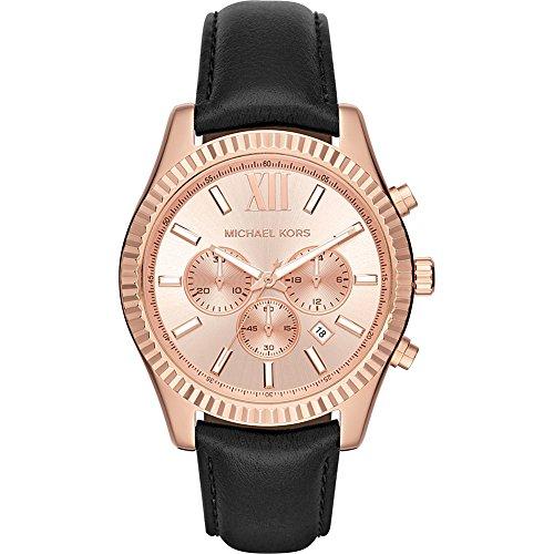 Michael Kors Men's Lexington Rose Goldtone And Black Leather Chronograph Watch