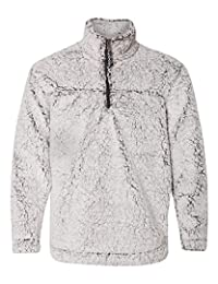 Boxercraft Adult Super Soft 1/4 Zip Sherpa Pullover-Smokey Grey-medium