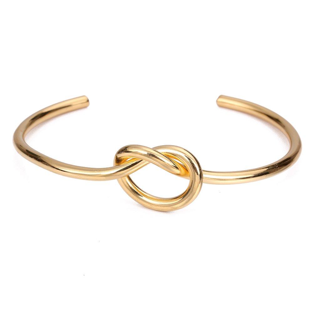 SUMMER LOVE Stainless Steel Love Knot Bracelets Simple Cuff Tie The Knot Bangle Bracelet for Women Bridesmaid Bracelets