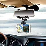 Universal Smartphone Holders Car Rear View Mirror Mount Holder Stand Truck Auto Bracket Cradle For iPhone 7, 7 plus, 6s plus, 6, 5S, Samsung Galaxy S6/S5/S4/S3, Note 4/3/2, GPS/ PDA/ MP3/ MP4 (Black)