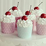 hole in one american pie - Cupcake Wrappers Blue&Pink White Dots Bulk High Temperature Muffin Baking Cups Greaseproof Paper Cupcake Liner (Pink 100 Pcs)