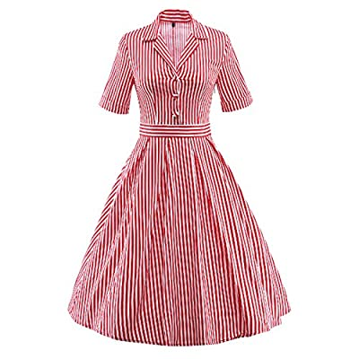 HongyuTing 1950s Vintage Striped Shirt Dress for Rockabilly Party or Casual Occasion