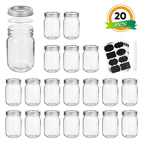 Silver Jars - Mason Jars, Wide Mouth Canning Jars,12OZ Glass Jars With Regular Lids and Bands(Silver),Ideal For Jam,Honey,Wedding Favors,Shower Favors,Baby Foods,Set of 20