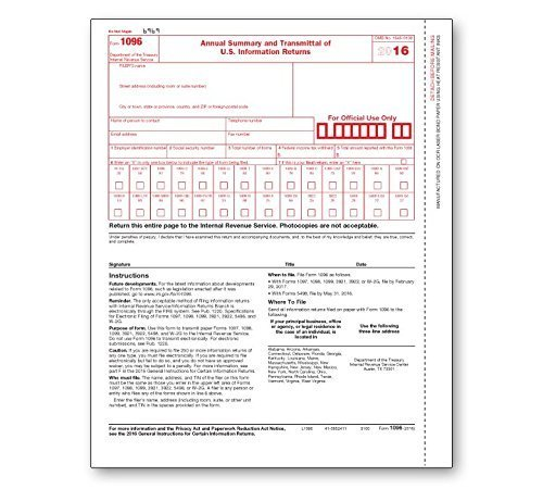 Nice 1096 Transmittal /Summary Tax Form (2019) - 25 Pack