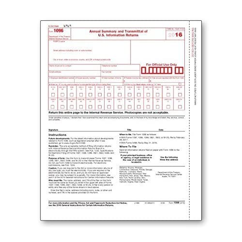 1096 Transmittal /Summary Tax Form (2017) - 25 Pack
