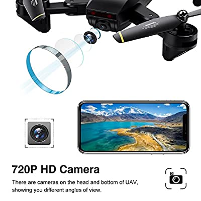 LBLA Drone with Camera,WIFI FPV Quadcopter with 720P HD Camera Live Video, Headless Mode 2.4GHz 4 CH 6 Axis Gyro Foldable RTF RC Quadcopter Black from LBLA