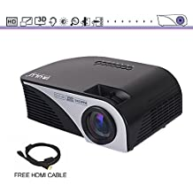 "Mini HD Movie Projector, iRULU 60 Multimedia 1080P HDMI USB ATV AV VGA LED Video Projector Max 120"" Big Screen For Party, Home Theater, Back Yard Movie, Games – Black"