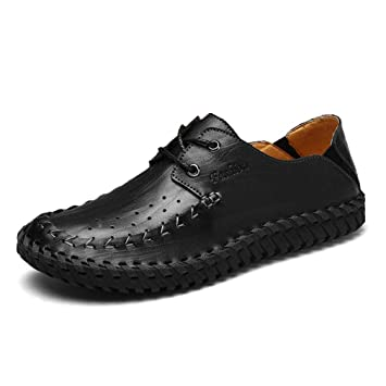 YAN Zapatos de Hombre de Cuero 2018 Nuevo Spring & Fall Mocasines con Cordones y Slip