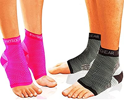 Plantar Fasciitis Socks with Arch Support, BEST 24/7 Foot Care Compression Sleeve, Better than Night Splint, Eases Swelling & Heel Spurs, Ankle Brace Support, Increases Circulation, Relieve Pain Fast from Physix Gear Sport