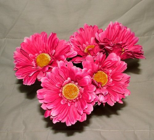 (6 x Artificial Single Stem Hot Pink Gerbera with Big Bloom - very dramatic - home garden by A1-Homes)