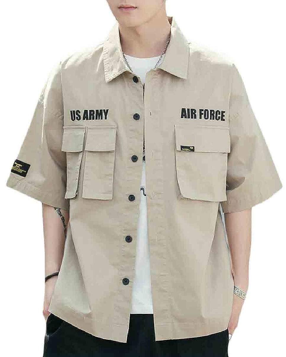 Xswsy XG Mens Shirts Stylish Button Down Short Sleeve Loose Fit Cargo Shirt Tops