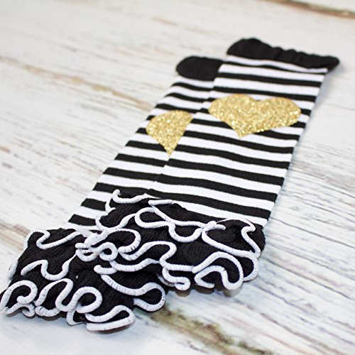 Gold Glitter Heart Black and White Stripe Ruffle Baby Leg Warmer by Olive Loves Apple (Image #1)'