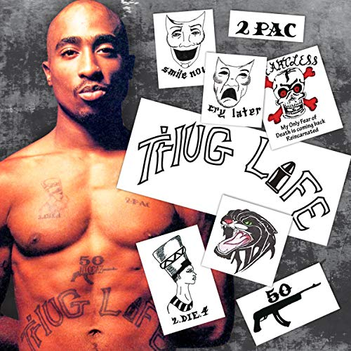 Tupac Halloween Costume (2Pac - Tupac Shakur Temporary Tattoos | REALISTIC | Skin Safe | MADE IN THE)