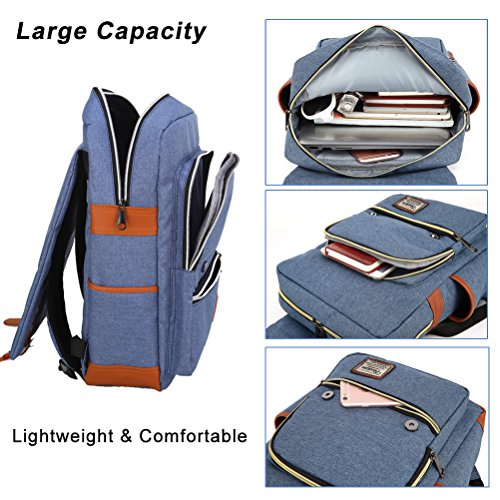 Unisex Professional Slim Business Laptop Backpack, Feskin Fashion Casual Durable Travel Rucksack Daypack (Waterproof Dustproof) with Tear Resistant Design for Macbook, Tablet - Blue by Feskin (Image #4)