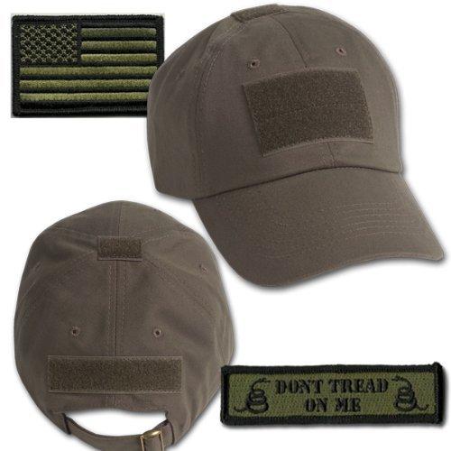 Gadsden and Culpeper Operator Cap Bundle - w USA/Dont Tread Patches (Olive Cap)