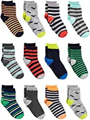Simple Joys by Carter's Baby Boys' Toddler 12-Pack Sock Crew, Stripe, Din